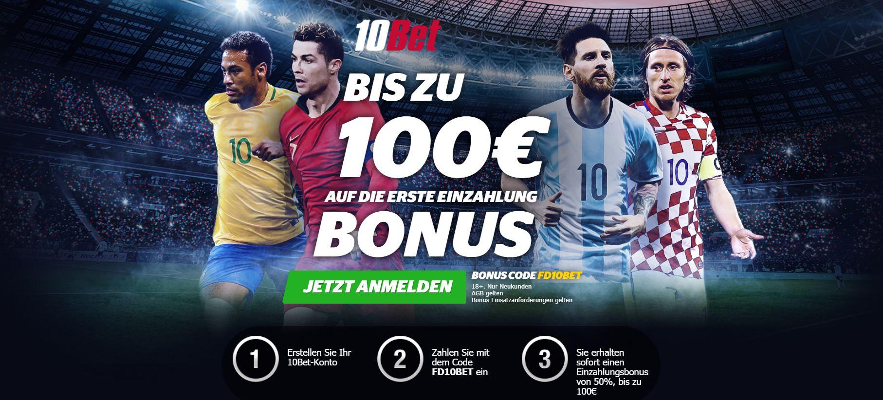 10Bet Sportwetten Bonus WM2018
