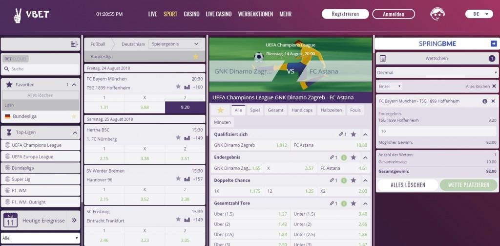 VBet Sportwetten Webseite