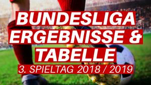 Bundesliga Tabellenstand 3. Spieltag