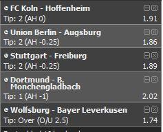 Bundesliga Vorhersage Tipps 1. Spieltag 2020 / 2021