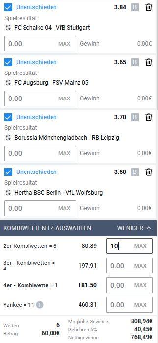 Bundesliga Unentschieden Systemwette 6. Spieltag
