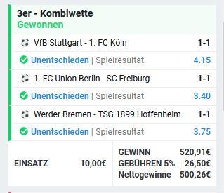 Bundesliga Wetten Unentschieden - Kombi