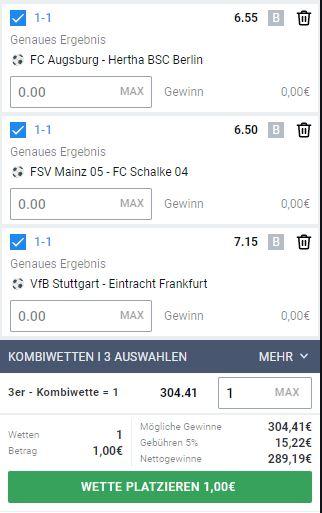 1-1 Wetten 7. Bundesliga Spieltag
