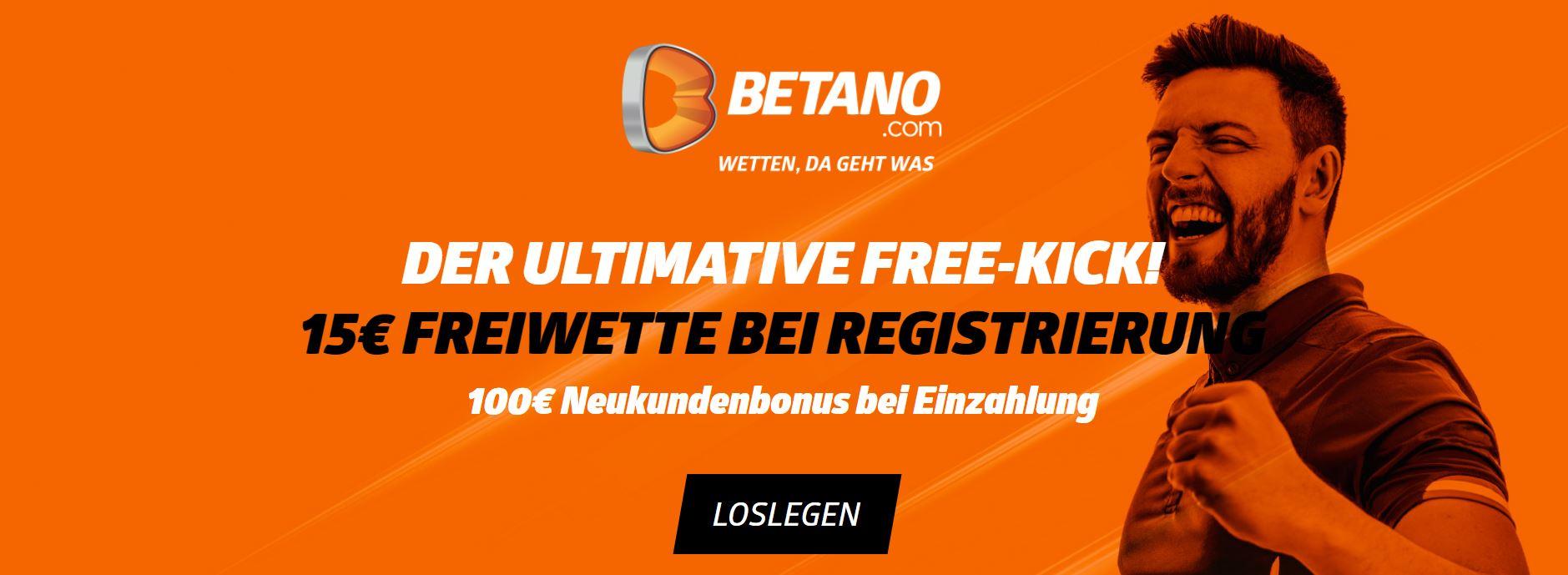 15 Euro Gratiswette bei Betano